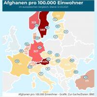 Afghanen pro 100.000 Einwohner Europa 1