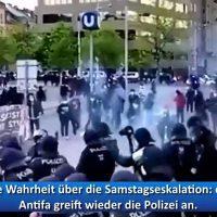 Antifa Gewalt gegen die Polizei Wien an der U-Bahn Station