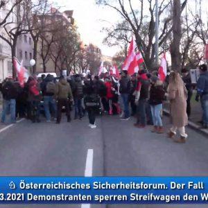 Demo querdenker coronaleugner Wien gegen Polizeistreifenwagen